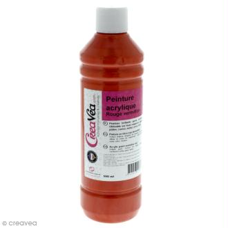Peinture acrylique brillante - Rouge vermillon - 500 ml