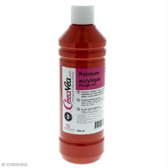 Peinture acrylique brillante - Rouge vif - 500 ml