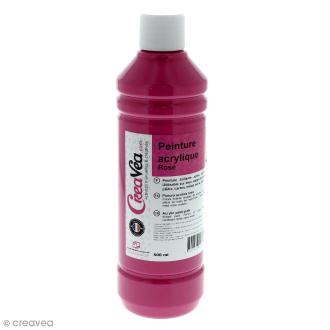 Peinture acrylique brillante - Rose - 500 ml