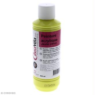 Peinture acrylique brillante - Jaune citron - 250 ml