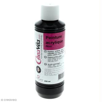 Peinture acrylique brillante - Noir - 250 ml