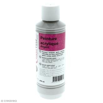 Peinture acrylique métallique - Argent - 250 ml