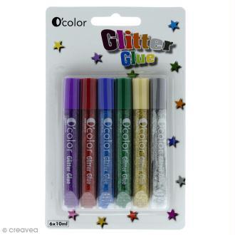 Colle à paillettes Glitter Glue - 6 tubes de 10 ml