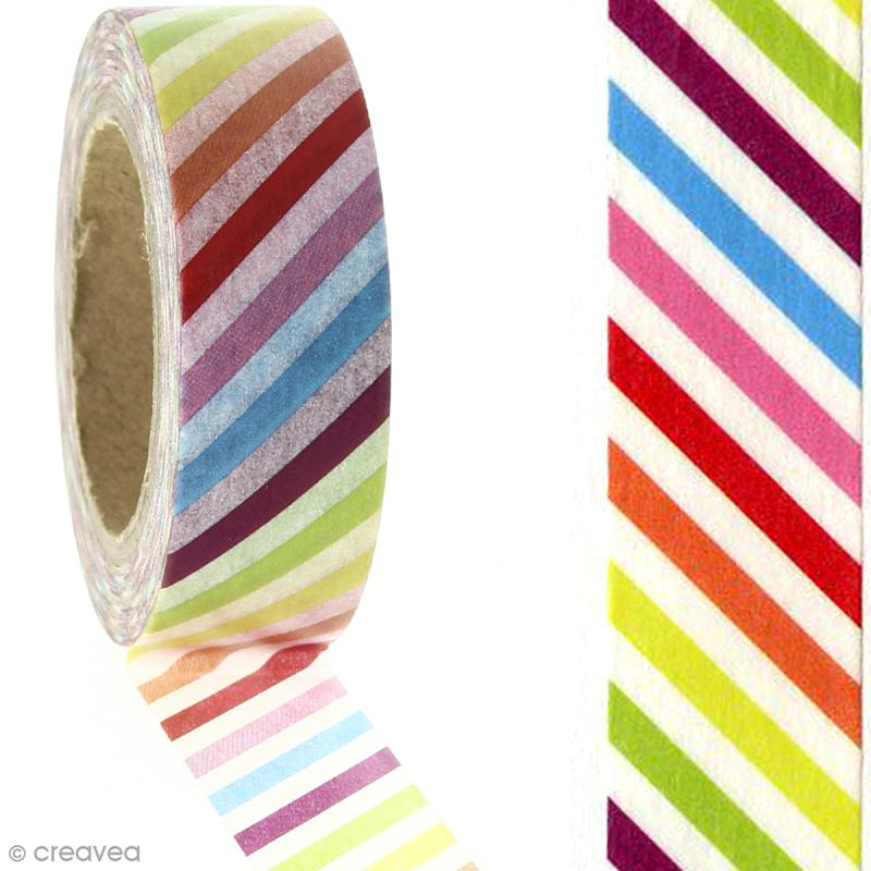 Masking tape - Rayures multicolores - 1,5 cm x 10 m - Photo n°2