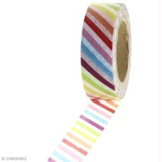 Masking tape - Rayures multicolores - 1,5 cm x 10 m