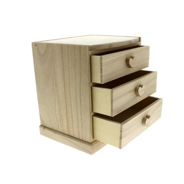Coiffeuse coeurs 3 tiroirs en bois à décorer - 20 x 20 x 15 cm - Photo n°2