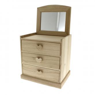 Coiffeuse coeurs 3 tiroirs en bois à décorer - 20 x 20 x 15 cm