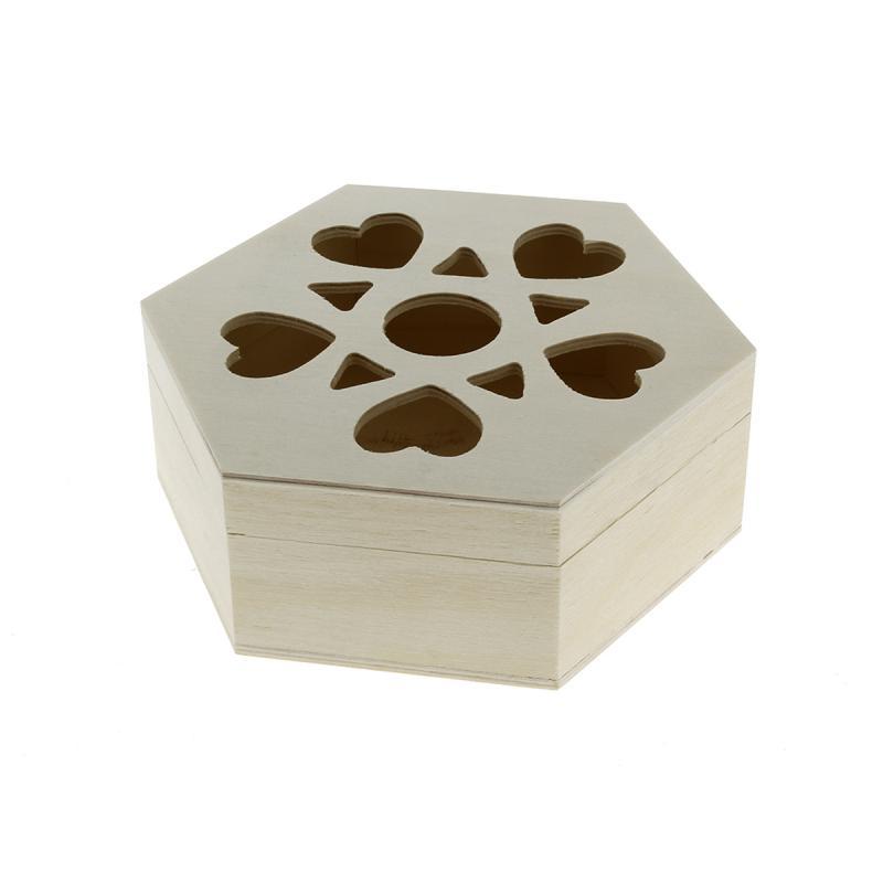 Boîte ajourée coeurs en bois à décorer - 16 x 14 x 6 cm - Photo n°1