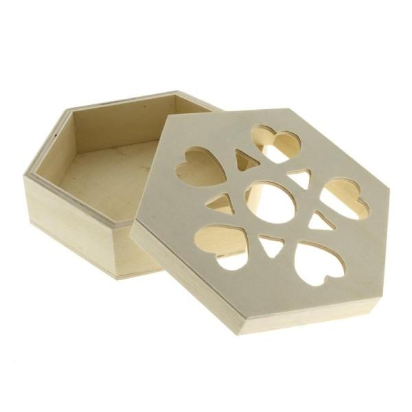 Boîte ajourée coeurs en bois à décorer - 16 x 14 x 6 cm - Photo n°2