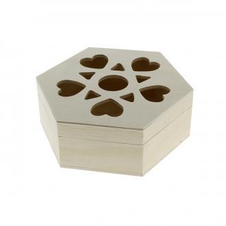 Boîte ajourée coeurs en bois à décorer - 16 x 14 x 6 cm