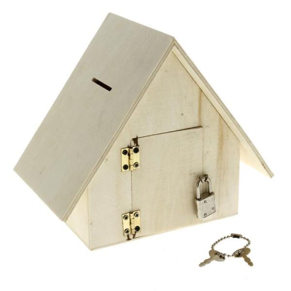 Tirelire maison en bois à décorer - 18 x 15,5 x 11 cm - Photo n°2