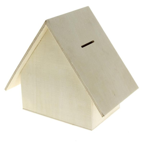 Tirelire maison en bois à décorer - 18 x 15,5 x 11 cm - Photo n°1