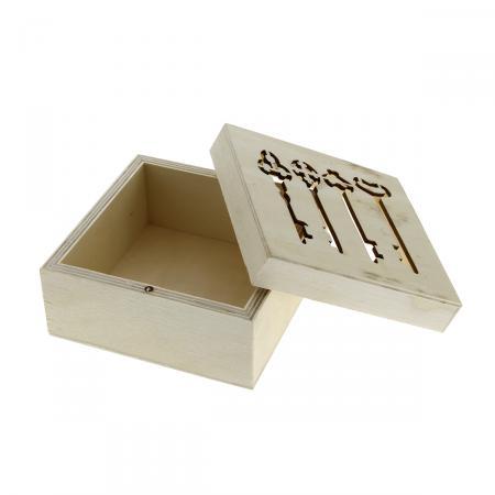 Bo te clefs en bois d corer 11 x 11 x 6 cm support for Boite bois a decorer