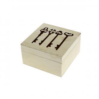Boîte Clefs en bois à décorer - 11 x 11 x 6 cm