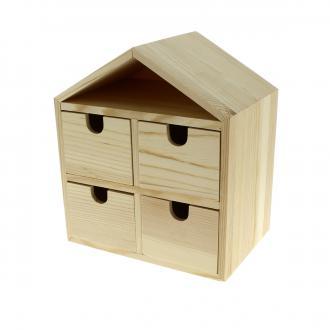 Commode maison 4 tiroirs en bois à décorer - 20 x 17,5 x 12 cm