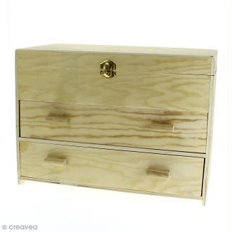 Maxi boîte de rangement en bois - 2 tiroirs - 35 x 20 x 26 cm