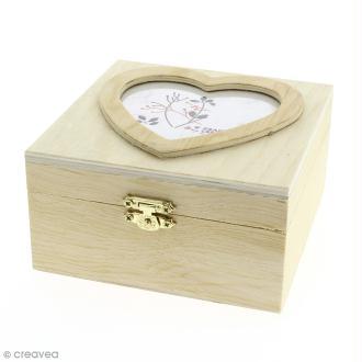Boîte carrée en bois à décorer - Photo coeur - 13,7 x 7 x 13,1 cm