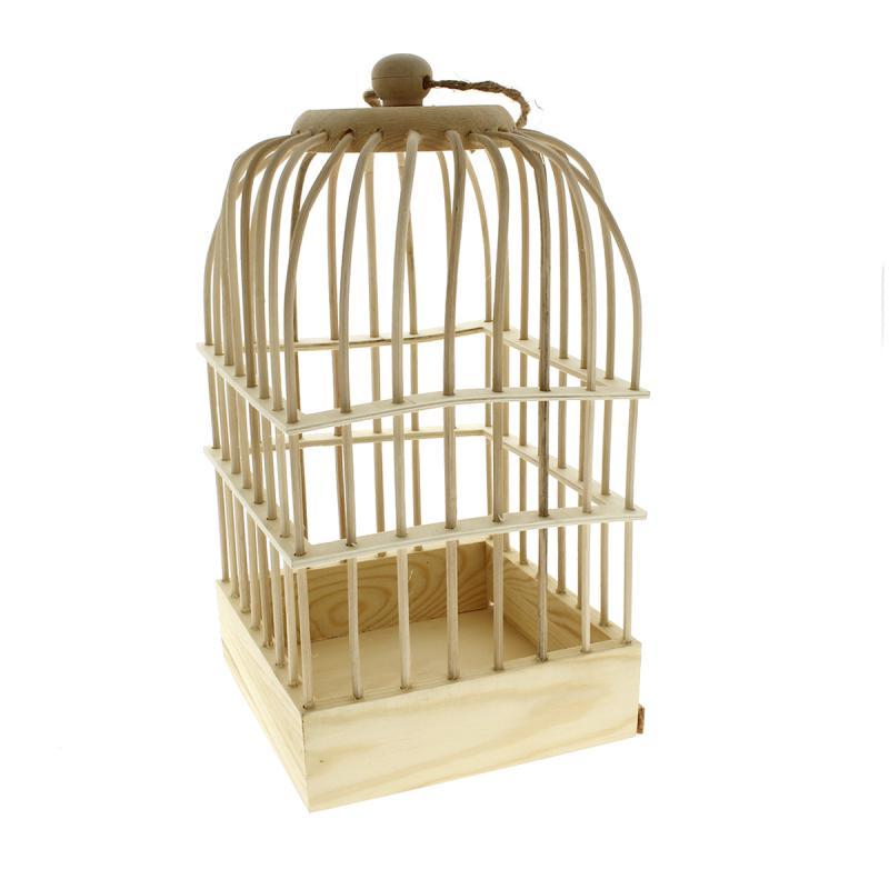 Cage oiseaux en bois d corer 32 x 16 5 x 16 5 cm for Decorer une cage a oiseaux