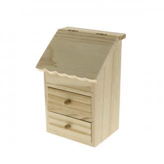 Vide-poches 2 tiroirs en bois à décorer - 17 x 11,5 x 9 cm