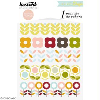 Rub-ons Transferts Rétro Flowers - 1 planche de décalcomanies 15 x 10 cm