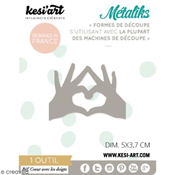 Die Métaliks Coeur avec doigts pour machines de découpe - 1 pce - Photo n°1