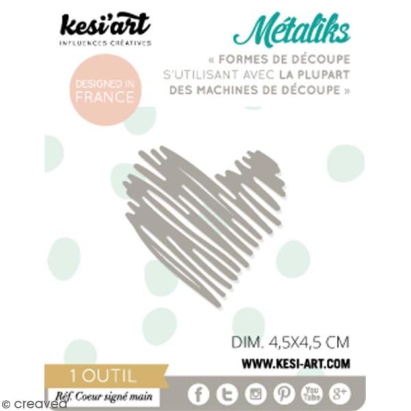 Die Métaliks Coeur signé main pour machines de découpe - 1 pce - Photo n°1