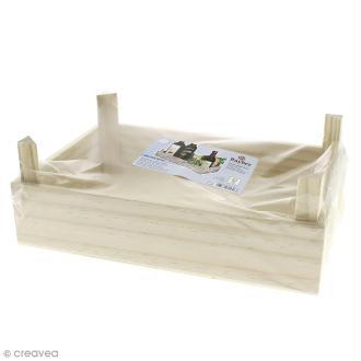 Caisse en bois aspect lattes - 28 x 19 x 10 cm