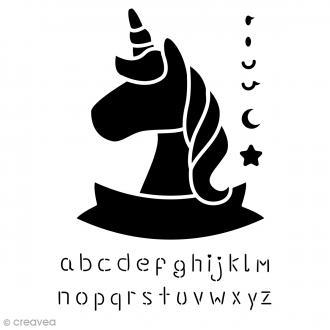 Pochoir multiusage A4 - Licorne Alphabet - 1 planche