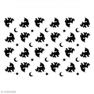 Pochoir multiusage A5 - Licornes - 1 planche