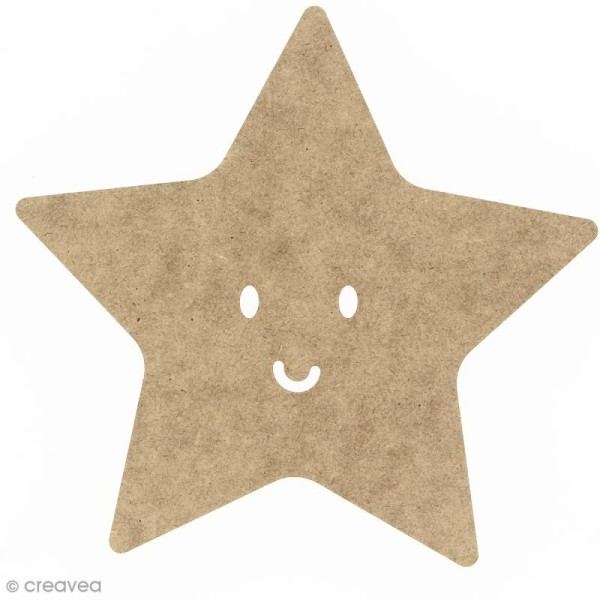 Etoile smile en bois à décorer - 15 cm - Photo n°1