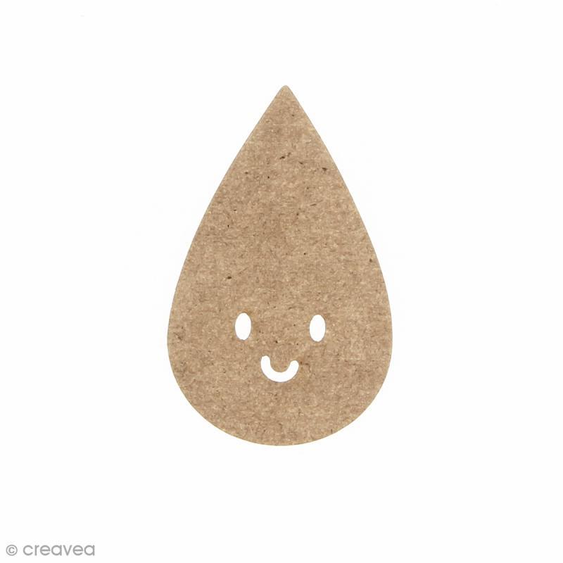 Goutte smile en bois à décorer - 3 x 5 cm - Photo n°1
