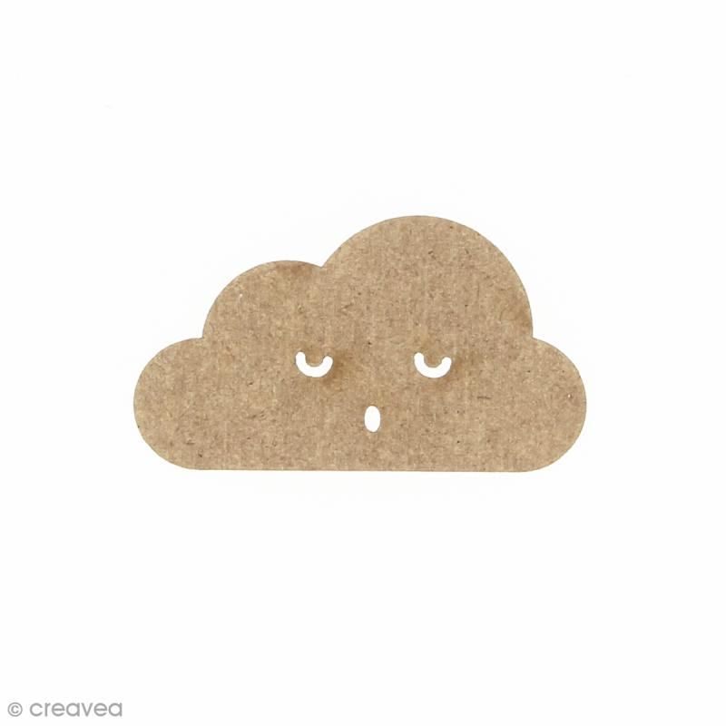 Nuage smiley 1 en bois à décorer - 5 x 2,8 cm - Photo n°1