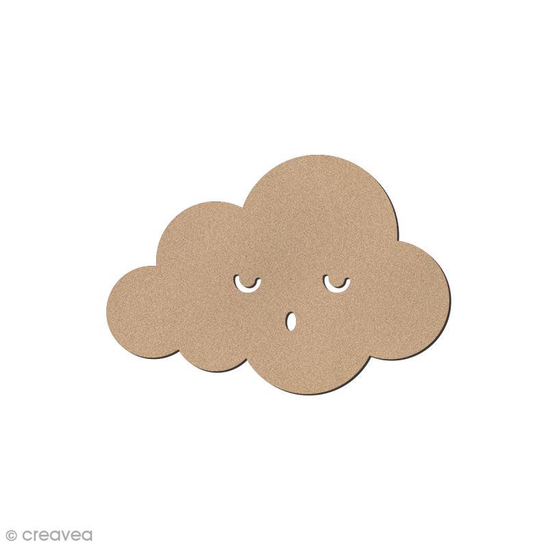 Nuage smiley 2 en bois à décorer - 5 x 3,4 cm - Photo n°1