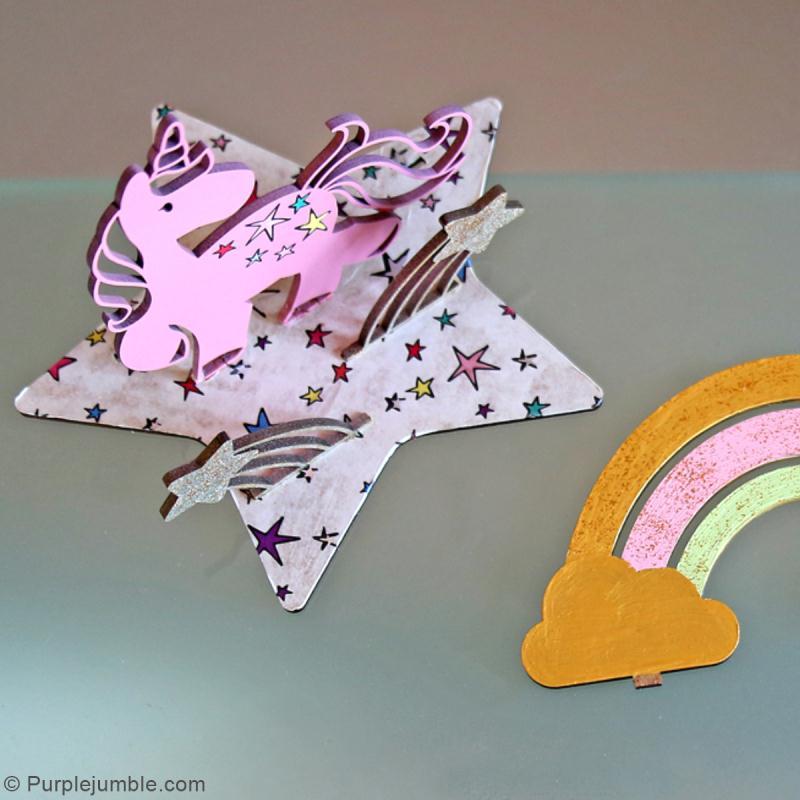 Déco 3D sur socle à monter - Licorne - 5 pcs - Photo n°5
