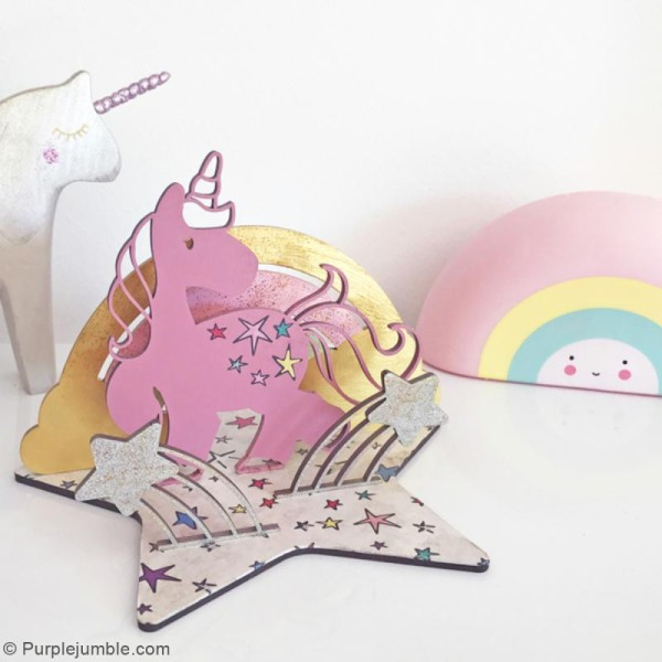 Déco 3D sur socle à monter - Licorne - 5 pcs - Photo n°2