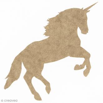 Licorne réaliste au galop en bois à décorer - 19 x 12 cm