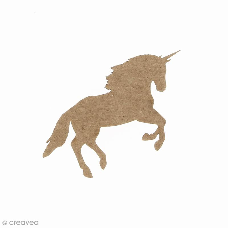 Licorne réaliste au galop en bois à décorer - 6,3 x 3,5 cm - Photo n°1