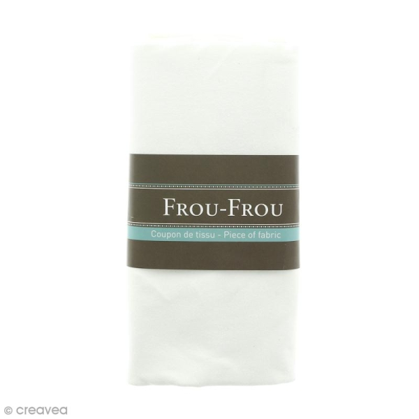 Coupon tissu Jersey - Blanc Ivoire Nacré (615) - 150 x 60 cm - Photo n°1