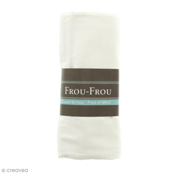 Coupon tissu Velours Millerais fin - Blanc Ivoire Nacré (615) - 140 x 80 cm - Photo n°1