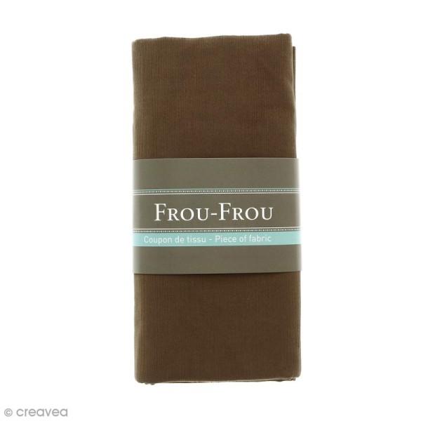 Coupon tissu Velours Millerais fin - Marron Brun (725) - 140 x 80 cm - Photo n°1