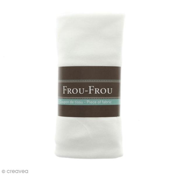 Coupon tissu Jersey Velours - Blanc Neige (600) - 150 x 60 cm - Photo n°1