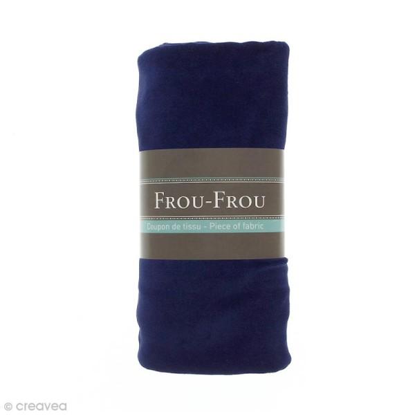 Coupon tissu Jersey Velours - Bleu Navy (720) - 150 x 60 cm - Photo n°1