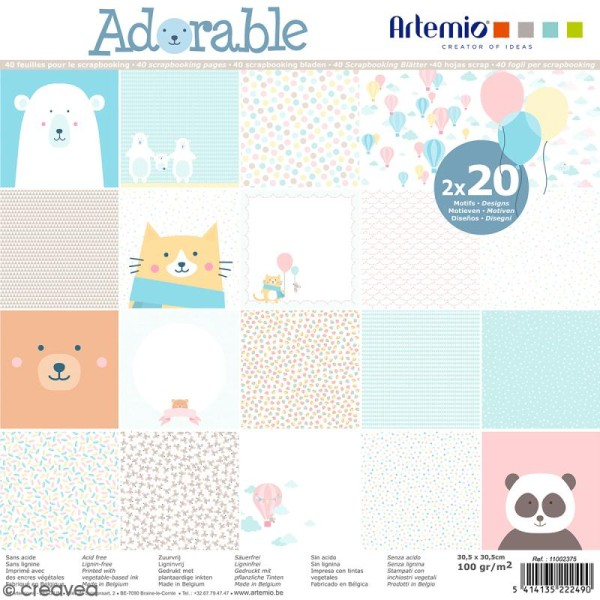 Papier Scrapbooking Artemio - Adorable - 30,5 x 30,5 cm - 40 feuilles - Photo n°1