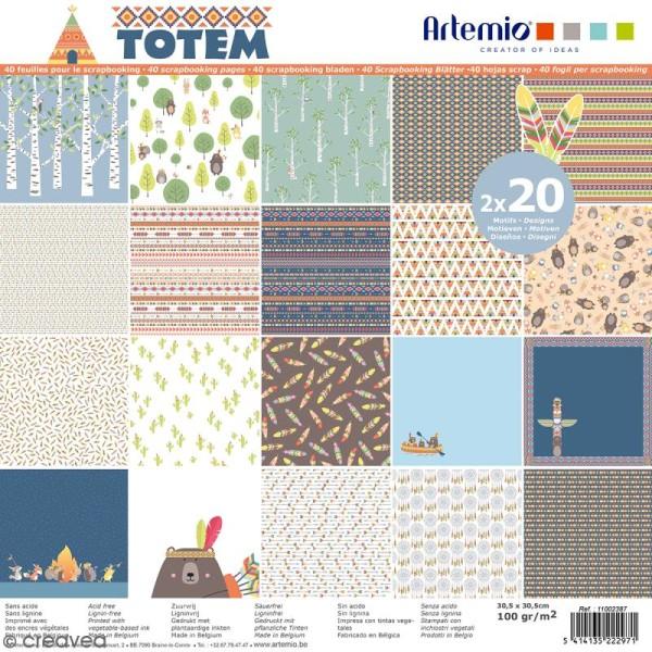 Papier Scrapbooking Artemio - Totem - 30,5 x 30,5 cm - 40 feuilles - Photo n°1