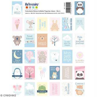 Stickers timbre décoratif - Adorable - 3,3 x 2,7 cm - 64 pcs