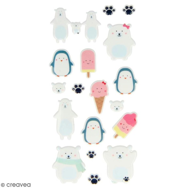 Stickers Puffies Artemio Adorable - Banquise - 18 pcs - Photo n°1