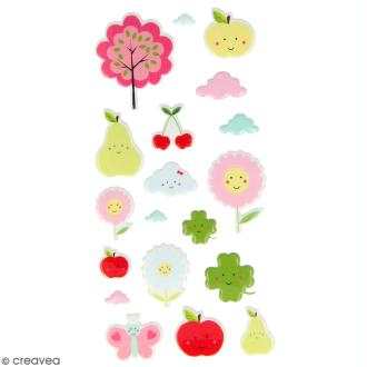 Stickers Puffies 14 x 7,5 cm - Adorables fruits - 19 autocollants