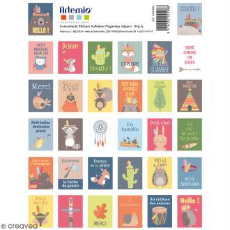 Stickers timbre décoratif - Totem - 3,3 x 2,7 cm - 64 pcs