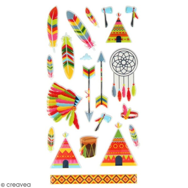 Stickers Puffies Artemio Totem - Plumes d'indien - 21 pcs - Photo n°2