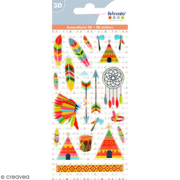 Stickers Puffies Artemio Totem - Plumes d'indien - 21 pcs - Photo n°1